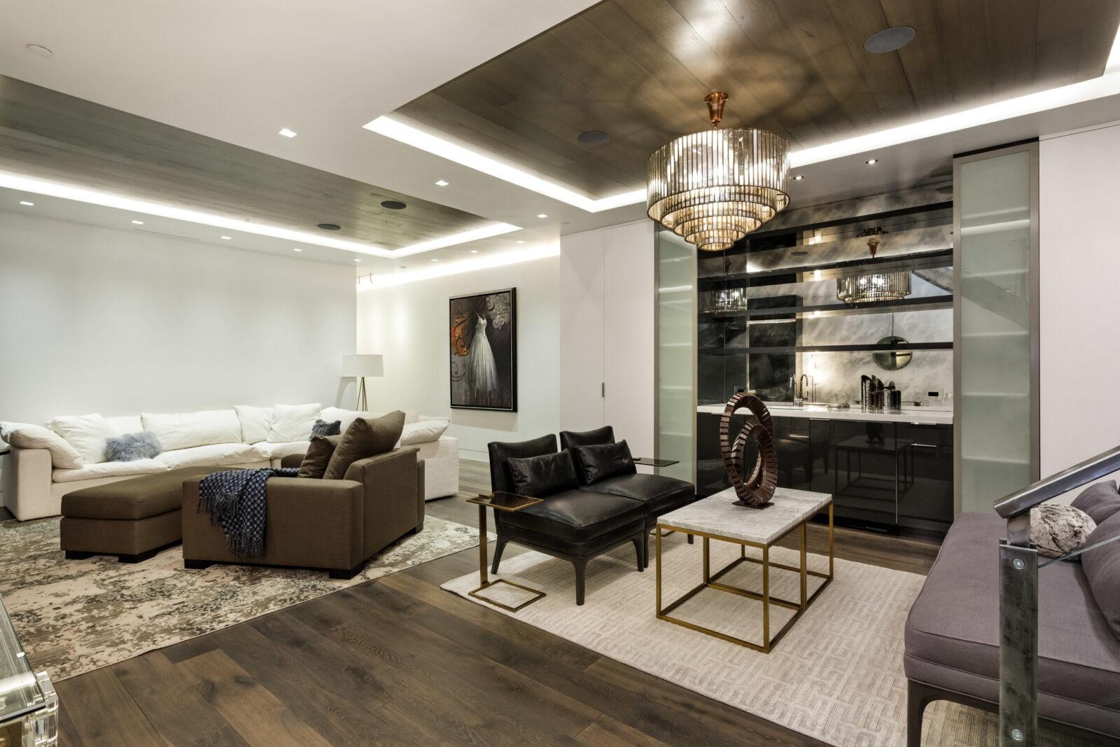 Interior living room at 101 E Hallam in Aspen