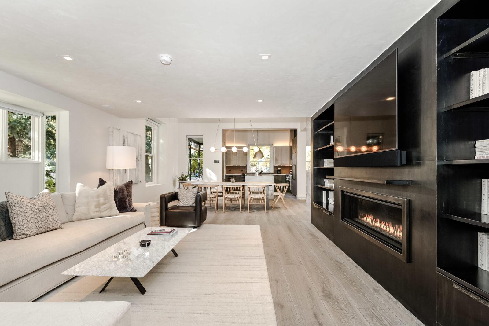 Interior living room at 131 W Bleeker in Aspen