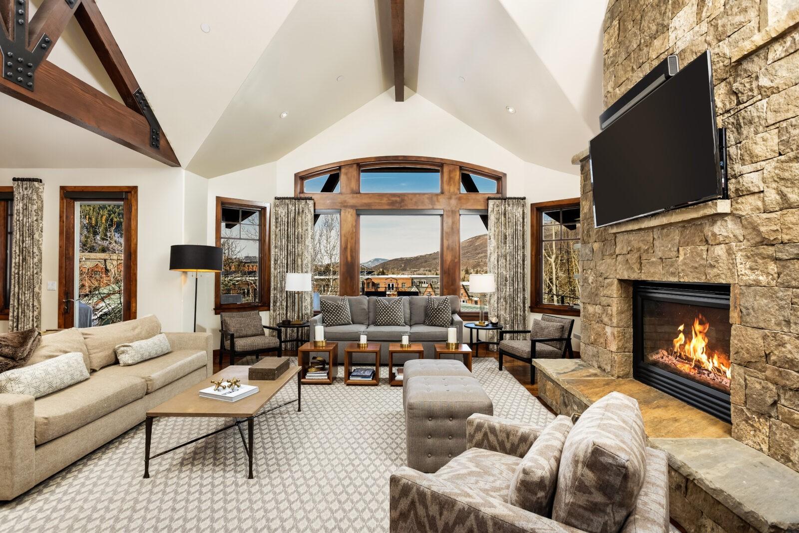 Interior living area at 704 S Galena in Aspen, CO