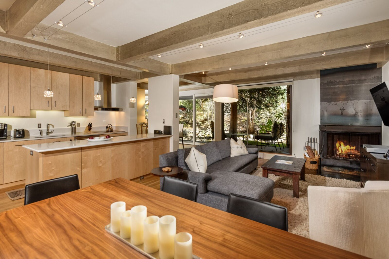 Living area at Chateau Eau Claire 24 in Aspen, CO
