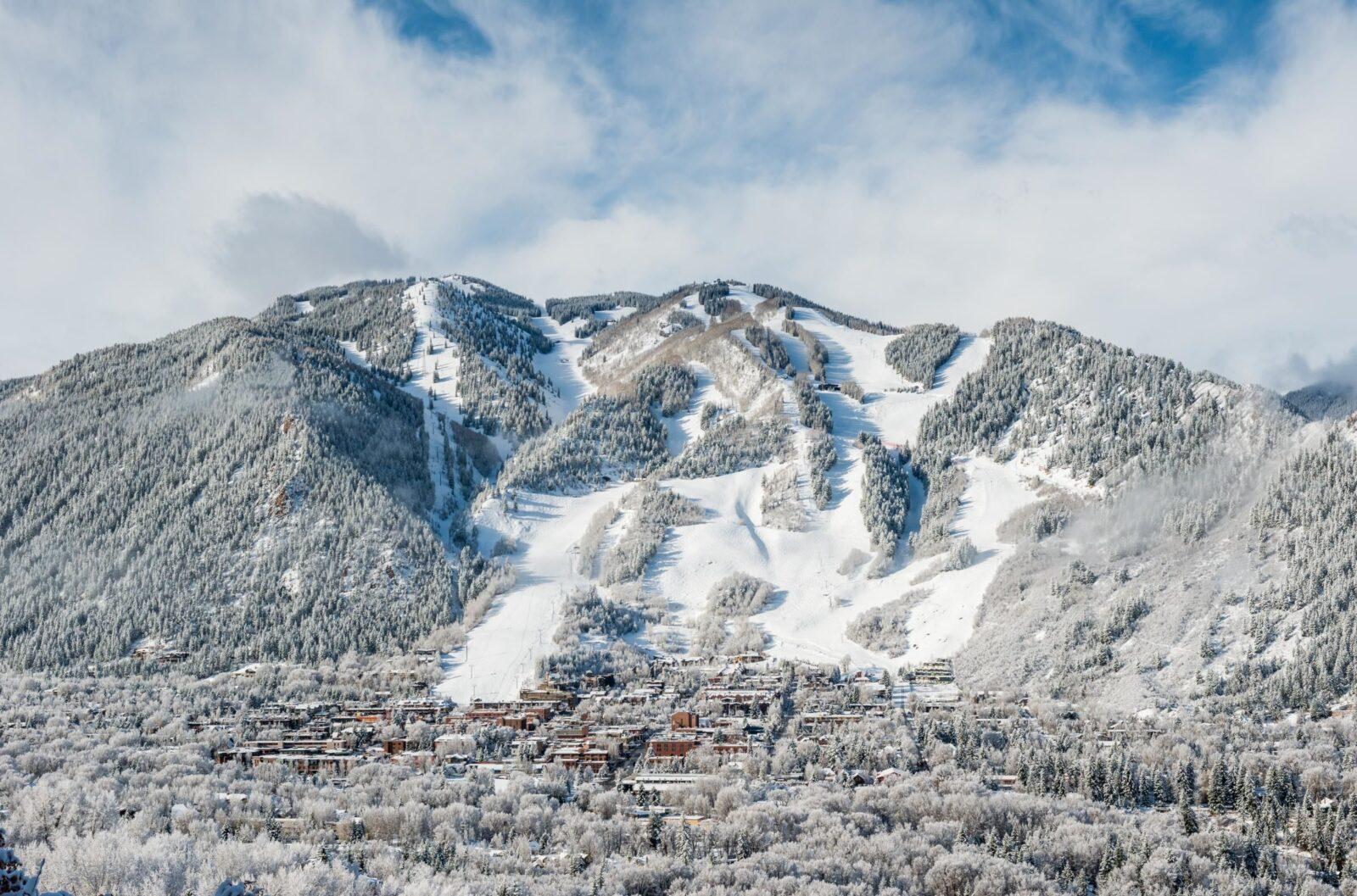 Snow covered Aspen Mountain